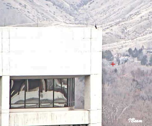 "New IBeam camera. See the ""black speck"" on the corner of the building? This is why I went downtown this morning."